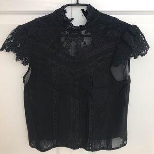 Alice & Olivia Kataria Boho Top Black Lace Size 0
